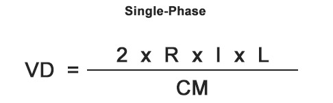 single phase voltage drop formula